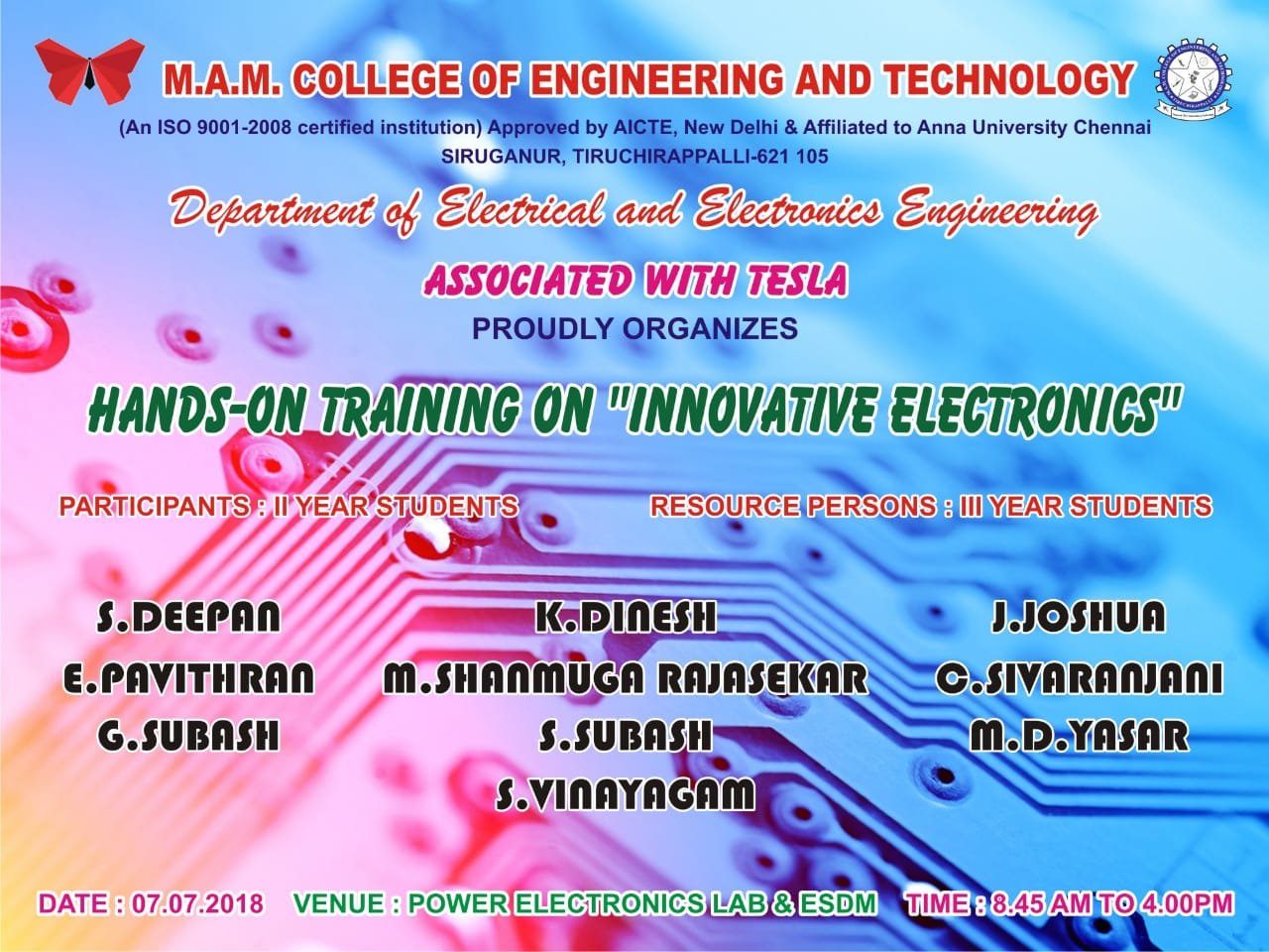 Mamcet Mam College Of Engineering And Technology Mr Electrical Electronics Projects For Dummies Hands On Training Innovative Organized By Department Eee